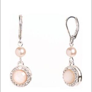 Anne Klein new Silver Tone Crystal and Pearl Drop